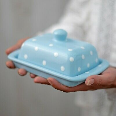 Handmade Light Sky Blue and White Polka Dot Ceramic Covered Butter Dish With Lid