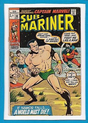 Sub-Mariner #30_Oct 1970_Very Good/fine_Guest Starring Captain Marvel_Bronze Uk!