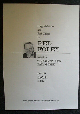 Red Foley 1967 Ad- Country Music Hall Of Fame congrats   Decca