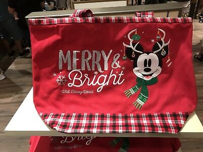 New 2018 Walt Disney World Mickey Mouse & Minnie Christmas Tote Bag Parks