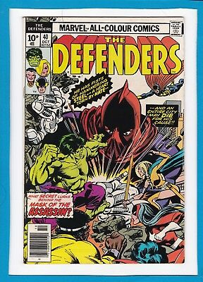 "The Defenders #40_October 1976_Vf Minus_""mask Of The Assassin""_Bronze Age Uk!"