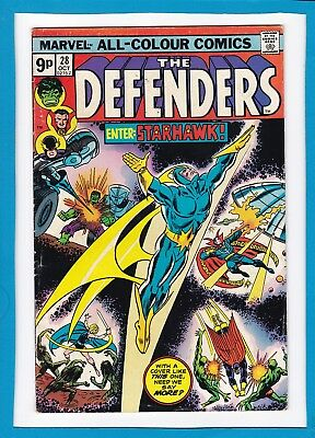 "The Defenders #28_Oct 1975_Fine+_Guardians Of The Galaxy_""enter...starhawk""_Uk!"