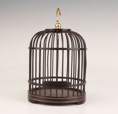 Black Wood Hand-Carved Birdcage Pet Cage Chinese Art Collection