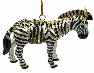 Zebra Articulated Cloisonne Metal Christmas Tree Ornament Animal Wildlife Horse