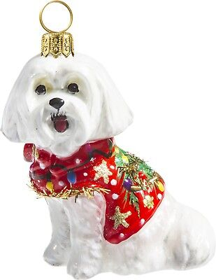Maltese in Ugly Christmas Sweater Dog Polish Glass Tree Ornament Pet Decoration