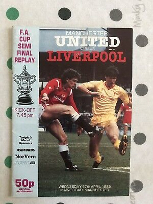 1984-85 Liverpool V Manchester United FAC Semi Replay and Ticket Stub