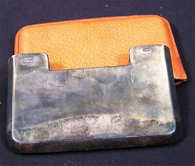 VINTAGE MAPSA STERLING SILVER MEXICO CIGARETTE CASE LEATHER POUCH 105.5 Grams