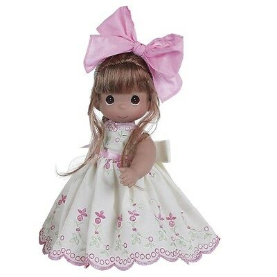 # New PRECIOUS MOMENTS Vinyl Doll ALWAYS A TOMORROW Floral Dress WHITE PINK BOW