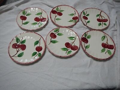 Set Of 6 Blue Ridge Crab Apple Bread And Butter Plates