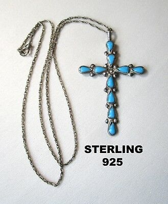 Estate Vintage 925 Sterling Silver Necklace with Large Cross Pendant