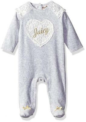 Juicy Couture Infant Girls Gray Velour Coverall Size 0/3M 3/6M 6/9M