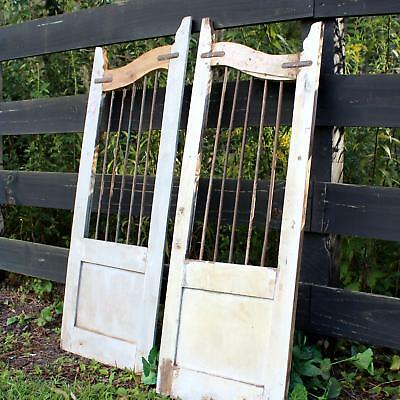 Saloon Wood Doors Rusted Iron Bars Recycled Wood Hand Crafted Sold as Pair