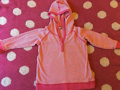 Baby Boden Girls Hooded Pink White Top Aged 12-18 Months