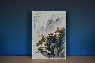 Fine Antique Chinese Porcelain Plaque Famille Rose Marked Master Wang Yeting J89