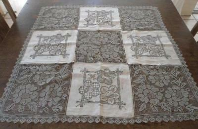 """Vintage Embroidered Linen Filet Lace Tablecloth Taupe Roses Honeycomb 33"""""""