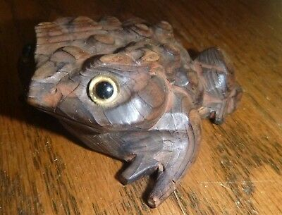 """Vintage Japan Hand-Carved Frog Cryptomeria Wood Figure Horny Toad 3"""" long ~ VGC"""