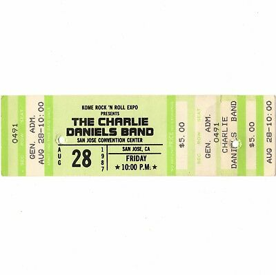 CHARLIE DANIELS BAND Concert Ticket Stub SAN JOSE 8/28/87 LONG HAIRED COUNTRYBOY