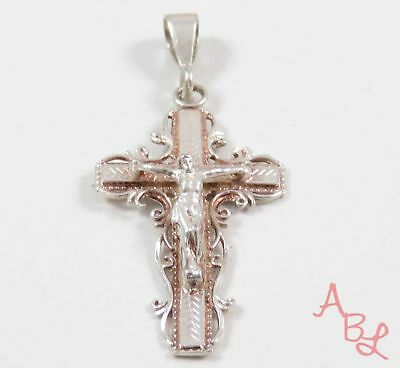 Sterling Silver Vintage 925 Religious Cross Crucifix Pendant (2.1g) - 739420