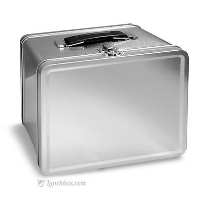 Retro Plain Metal Lunch Box - Plain Silver Pail Lunchbox Lunchpail