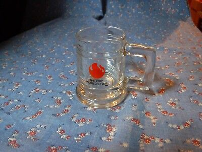 Small Glass Handled  Mug Shotglass The 1982 World's Fair  2 3/8 Inch High