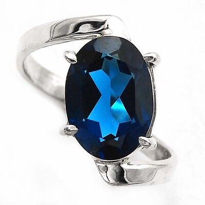 5CT London Blue Topaz 925 Solid Sterling Silver Ring Jewelry Sz 7.5