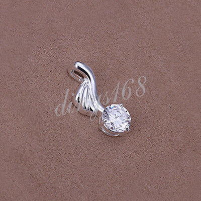 925 Sterling Silver Hypo-Allergenic Clear Crystal Pendant 25mm X10mm - Z439