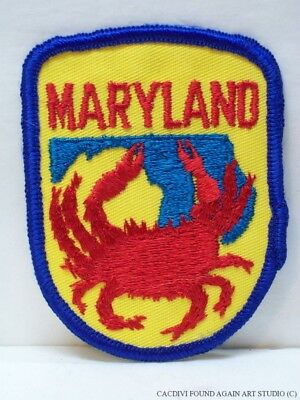 Vintage Maryland State Patch Red Crab Souvenir Embroidered Travel MD Chesapeake