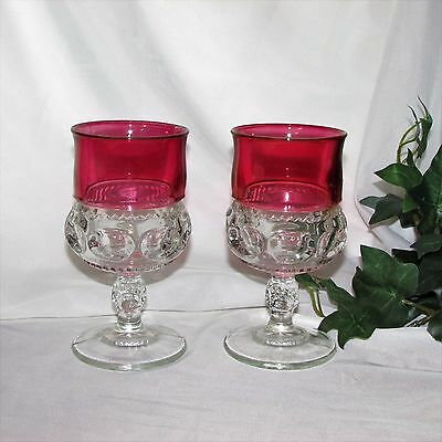 Indiana Glass Kings Crown Ruby Flash Goblet 2 Vintage Wine Glass Red Thumbprint