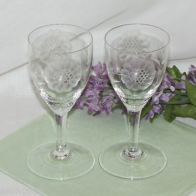 2 Vintage Hughes Cornflower Crystal Sherry Glasses Pair Etched Clear Depression