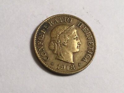 SWITZERLAND 1918 5  Rappen coin very nice condition, brass