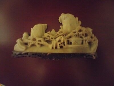 Vintage Chinese Carved Jade ? Landscape Village Mountain Scene on Stone Stand