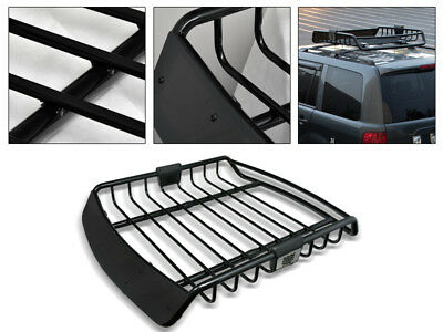 Universal Blk Roof Rack Cage Basket Travel Luggage Holder Top Tray W//Fairing G24