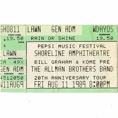 THE ALLMAN BROTHERS BAND Concert Ticket Stub SHORELINE 8/11/89 20TH ANNIVERSARY