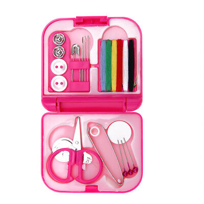 Sewing Kits Box Mini Needle Threads Buttons Scissor Thimble Portable Home SS6