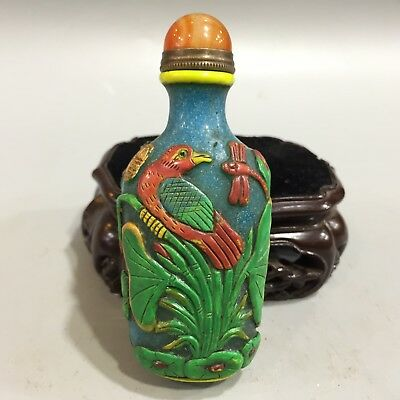 Rare Chinese Antique Collectible Handwork Coloured Glaze Bird Lotus Snuff Bottle