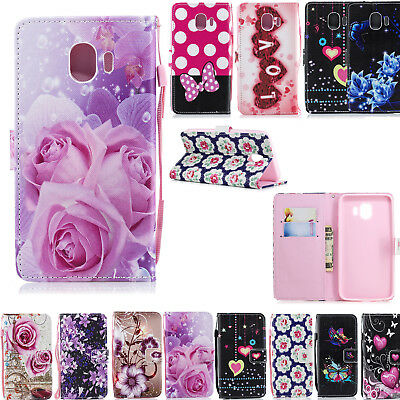 Leather Flip Phone Case Wallet Slots Card Cover Case for Samsung Galaxy J4 2018