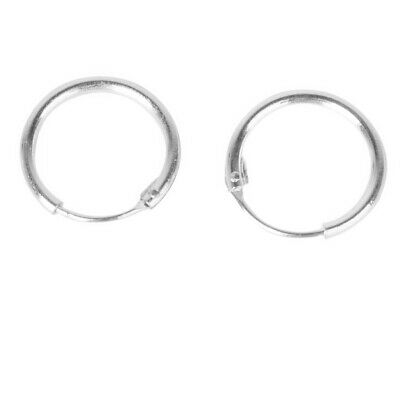 10mm Solid .925 Sterling Silver Small Tiny Sleepers Hinged Hoops Earrings Studs