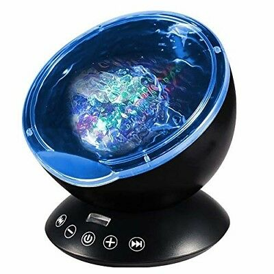 [Newest Design] Remote Control Ocean Wave Projector 12 LED 7 Colors Night Light