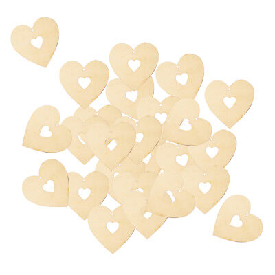 25pcs Rustic Blank Heart Wooden Pieces with Cutout Heart and Hole DIY Craft