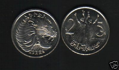 Ethiopia 25 Cents Km46 1997 Africa Lion Man Woman Unc Currency Money Coin