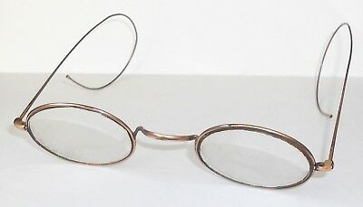 Vintage 1885-1910 Oval Frame Gold Plated Curlside Spectacles (With Lenses)