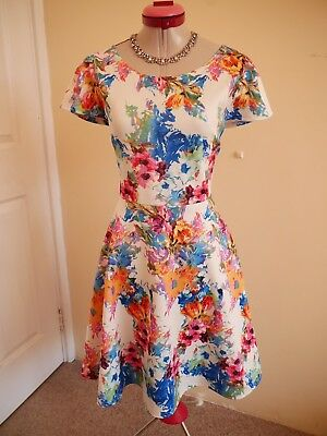 f46886bb140f BOOHOO PLUS White Blue Floral DRESS Size 18 BNWT NEW Fit & Flare RETRO 50s  Pink