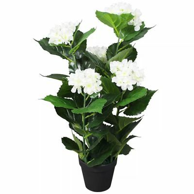 vidaXL Planta Artificial Hortensia con Macetero Altura Total 60 cm Color Blanco