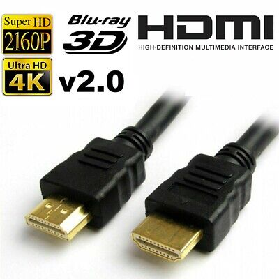 Premium HDMI 4K Cable v2.0 High Speed Video Lead 3D Ultra HD 2160p 1m Upto 10m