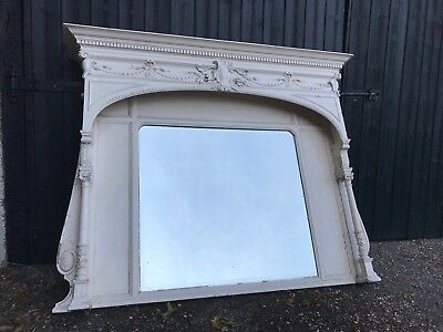 Antique Victorian Large Cream Painted Gesso Carved Wooden Bevelled Mantel Mirror