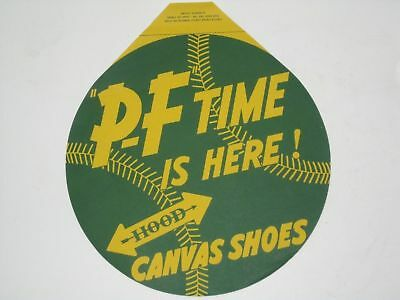 Vintage P F Canvas Shoes Green Baseball Display Advertising Store Window Banner