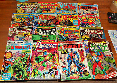 16x VINTAGE MARVEL COMICS lot Invaders 8 Avengers 129 155 167 Werewolf By Night