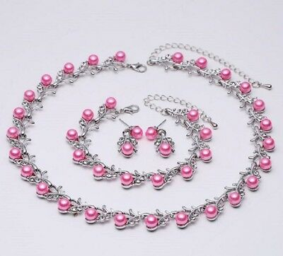 Hot Pink Faux Pearl & Diamante Crystal Choker Necklace, Earrings & Bracelet Set