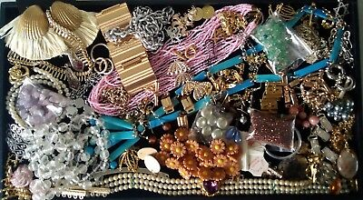 Job Lot of Vintage Jewellery: Real Amethyst Pearls Beads 1960s Necklace Clasps..