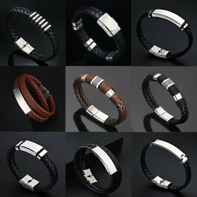 Fashion Men Women Steel Leather Bracelet Braided Magnetic Clasp Bangle Jewelry